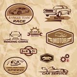 racing cars vintage labels