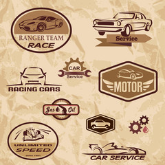 racing cars vintage labels