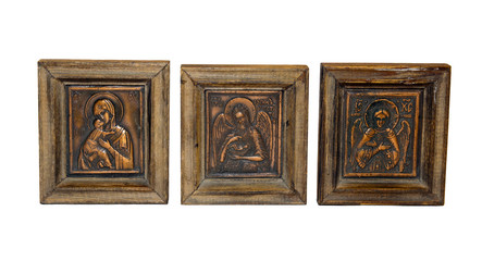 Orthodox icons of copper isolated on white background