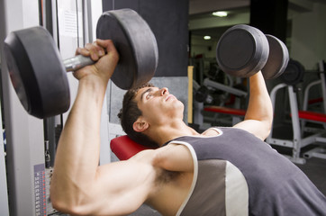 Shoulders and pectoral muscles press exercise