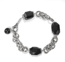Black Onyx Bead Chain Link Bracelet