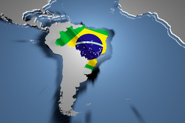 Brazil Country Map on Continent 3D Illustration
