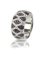 Black Onyx and Diamond Pave Wedding  Anniversary Ring