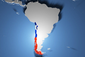 Chile Country Map on Continent 3D Illustration