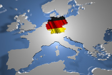 Germany Country Map on Continent 3D Illustration