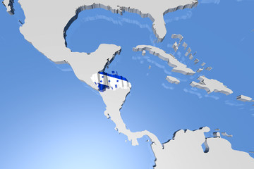 Honduras Country Map on Continent 3D Illustration