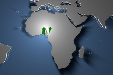 Nigeria Country Map on Continent 3D Illustration