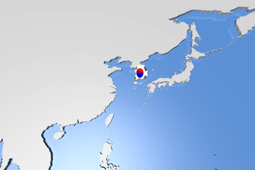 South Korea Country Map on Continent 3D Illustration