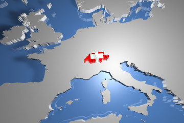 Switzerland Country Map on Continent 3D Illustration