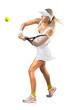Woman in sportswear plays tennis at training