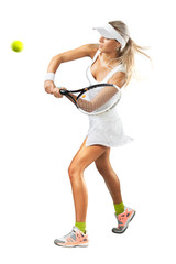 Woman in sportswear plays tennis at training
