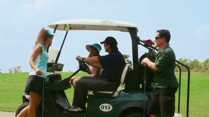 Happy people playing in golf club, sport, leisure, fun, hobby