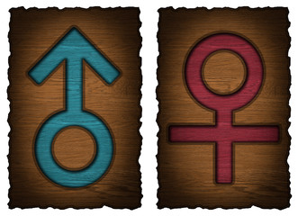 Men, women wooden Door Signs isolated on white background