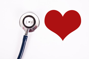 stethoscope with heart, concept of cardiovascular health
