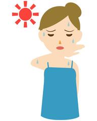 女性 上半身 真夏 熱中症