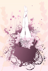 Body flower girl feet background