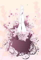 Body flower girl feet background