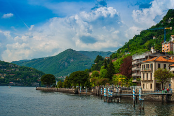Lago di Como, Italia, molo porticciolo