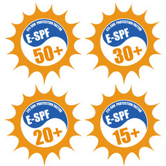 Set of stamps with Eye Sun Protection Factor