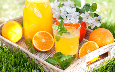 Homemade lemonade from oranges and lemon
