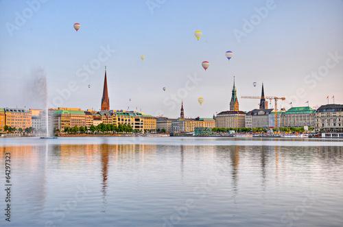 Fotobehang Stad aan het water Alster in Hamburg