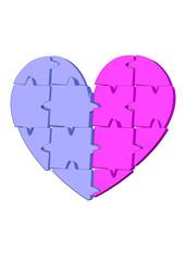 mavi pembe puzle kalp