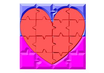 puzle kırmızı kalp