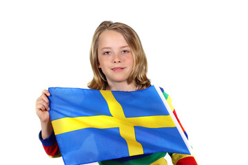 Cute kid holding up flag of Sweden