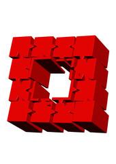 kırmızı sütun puzle çerçeve