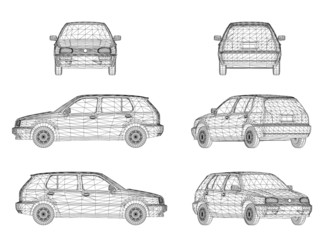 Wireframe design of car