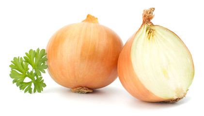 Onion vegetable bulbs isolated on white background