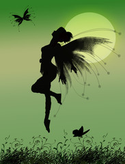 Sweet fairy girl flying with butterflies