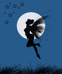 fairy girl and full moon