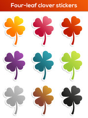 Set of four-leaf clover stickers