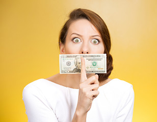 Corruption, woman with dollars and quiet gesture on her mouth
