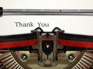 Typewriter Close Up with Thank You Word