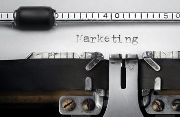 """Marketing"" written on an old typewriter"