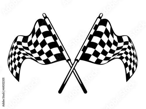 Fototapeta Waving crossed black and white checkered flags