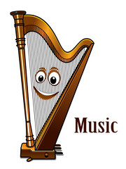 Happy harp in a music concept