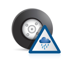 wheel and raining sign illustration design