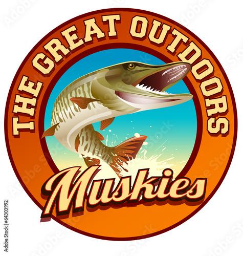 Muskie fishing illustration label design - 64303992