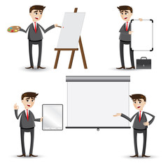 cartoon businessman presentation set