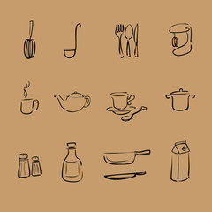 Kitchen brush line vector icons