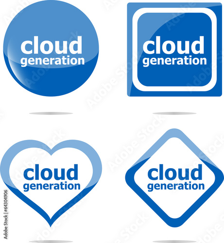 Cloud generation icon, label stickers set isolated on white