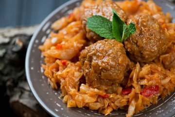 Close-up of meatballs with braised cabbage, studio shot