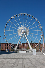 Large ferris wheel at Albert Dock, Liverpool UK