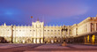 Night front view of Royal Palace in Madrid