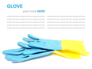 rubber cleaning gloves isolated on white background