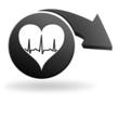 rythme cardiaque sur symbole noir