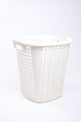 white plastic basket isolated